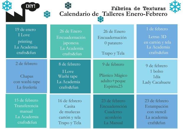 calendario talleres enero-feb